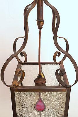 Wunderschöne original Jugendstil Deckenleuchte Flurlampe Bleiverglasung 1900 6