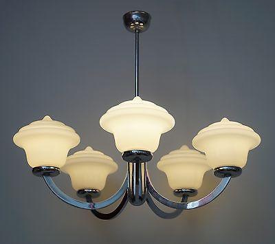 Prachtvoller original 1970er Jahre Deckenleuchter Bauhaus Chrom Deckenlampe