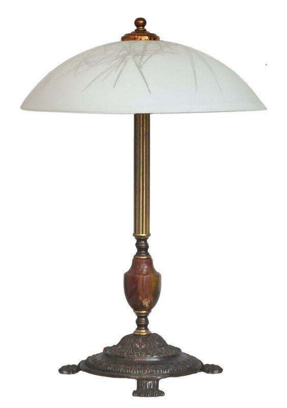Elegante große Jugendstil Tischleuchte Schreibtischlampe Messing