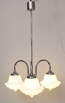 Retro original 1970er Bauhaus Hängeleuchte Deckenlampe Chrom