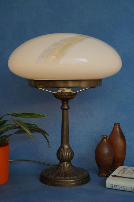 Sehr große original Jugendstil Art Déco Tischlampe Pilzleuchte Messing 1920 1