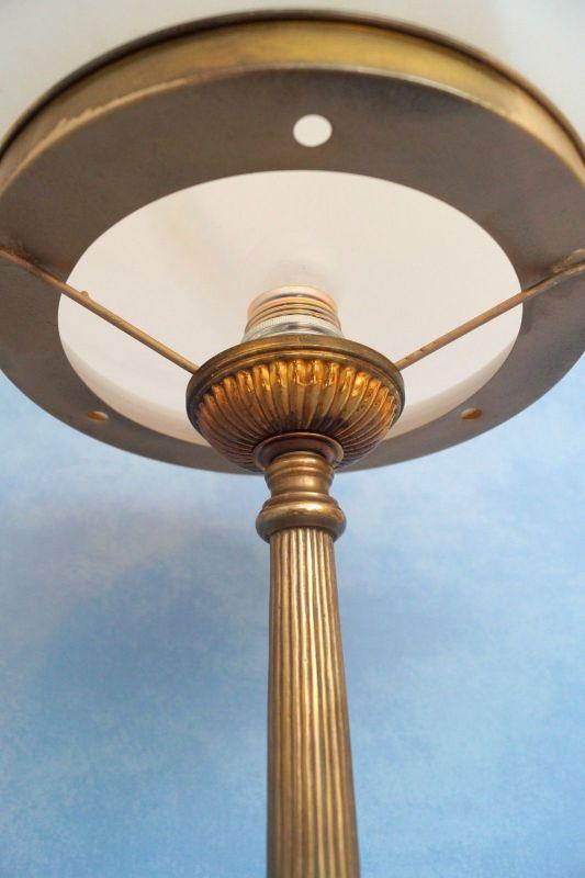 Sehr große original Jugendstil Art Déco Tischlampe Pilzleuchte Messing 1920 6