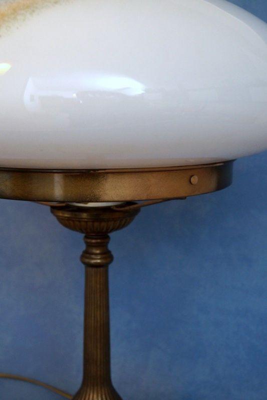 Sehr große original Jugendstil Art Déco Tischlampe Pilzleuchte Messing 1920 7