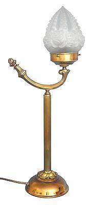 Wunderschöne original Jugendstil Leselampe Tischlampe Berlin Messing Opalglas 0