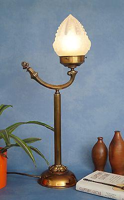 Wunderschöne original Jugendstil Leselampe Tischlampe Berlin Messing Opalglas 1