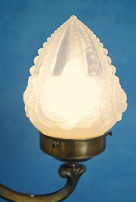 Wunderschöne original Jugendstil Leselampe Tischlampe Berlin Messing Opalglas 2