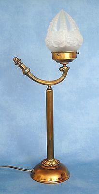 Wunderschöne original Jugendstil Leselampe Tischlampe Berlin Messing Opalglas 3