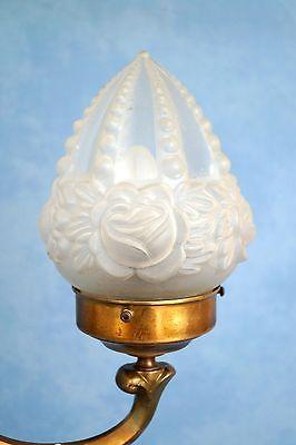 Wunderschöne original Jugendstil Leselampe Tischlampe Berlin Messing Opalglas 4