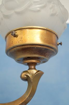 Wunderschöne original Jugendstil Leselampe Tischlampe Berlin Messing Opalglas 5
