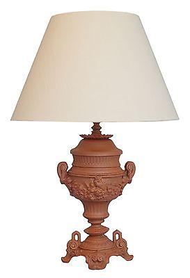 Sehr elegante orig. Jugendstil Amphoren Schreibtischlampe 1900 neuer Stoffschirm