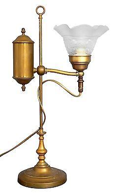 Französische original Jugendstil Bibliothek Leseleuchte Tischlampe Lampe Messing