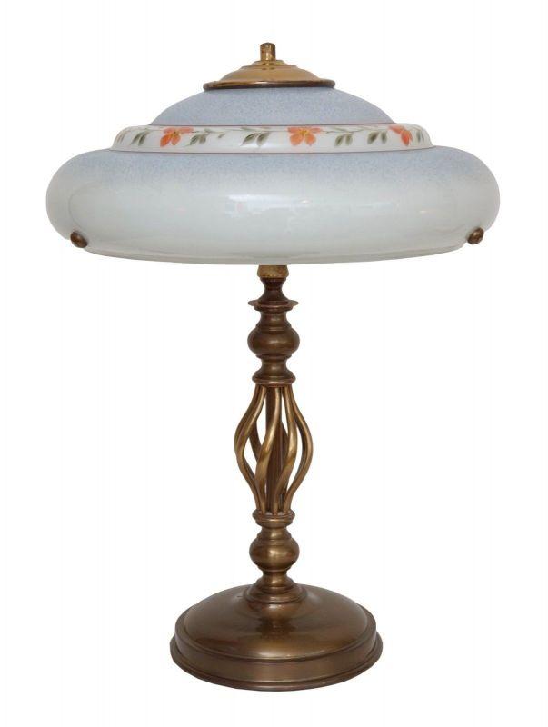 Wunderschöne Jugendstil Schreibtischleuchte orig. Opalglas Schirm 1920 Messing