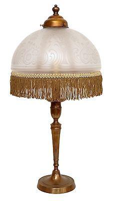 Edle original Jugendstil Schreibtischleuchte Tischlampe geätzter Glasschirm 1920