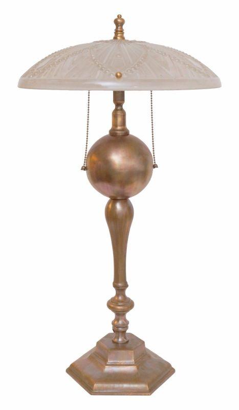Prachtvolles Unikat Art Déco Bankerlampe Tischlampe Messing Schreibtischlampe