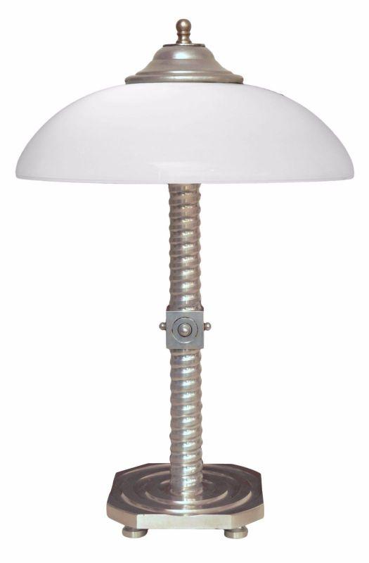 Einzigartige original Art Deco Bauhaus Design Tischlampe Bankerleuchte Aluminium
