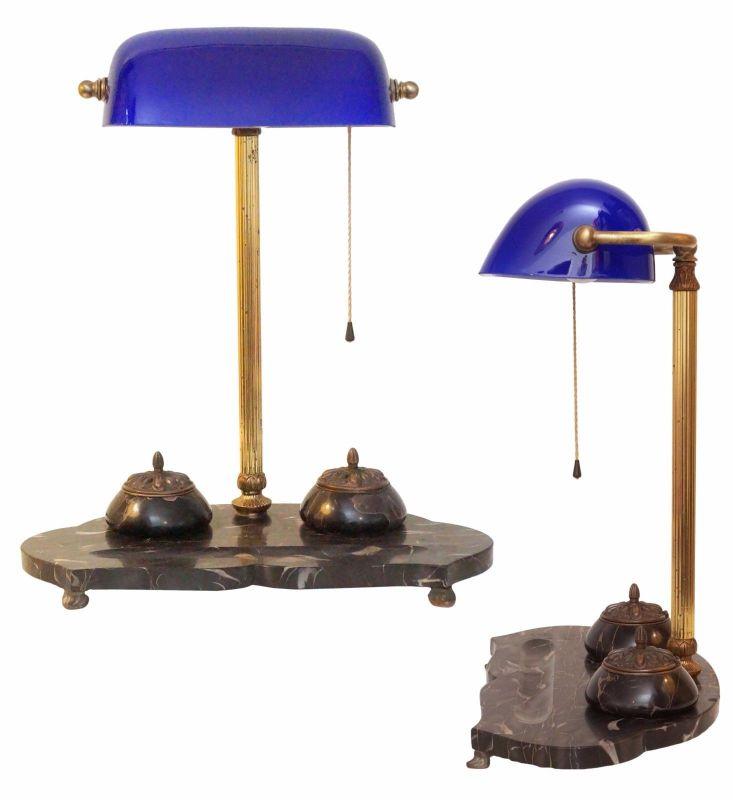 Einzigartige original Art Deco Bankerlampe