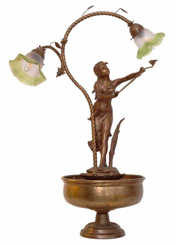 Einzigartige original Jugendstil Figur Bronze Lampe Treppenaufgang Hotel Paris