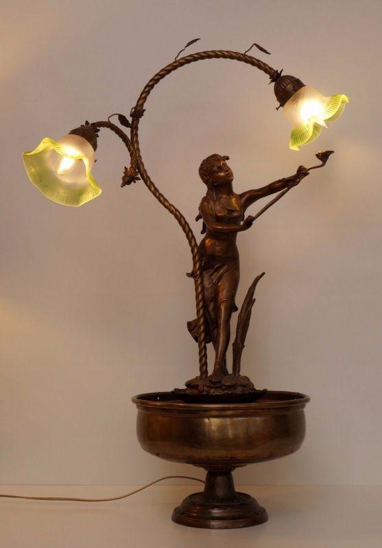 einzigartige original jugendstil figur bronze lampe. Black Bedroom Furniture Sets. Home Design Ideas