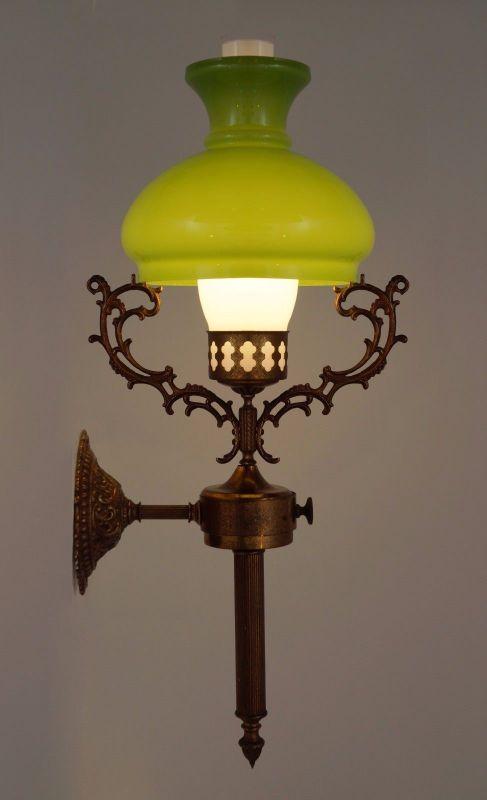 antike jugendstil wandlampe petroleum wandleuchte lampe messinglampe berlin nr 311981382439. Black Bedroom Furniture Sets. Home Design Ideas