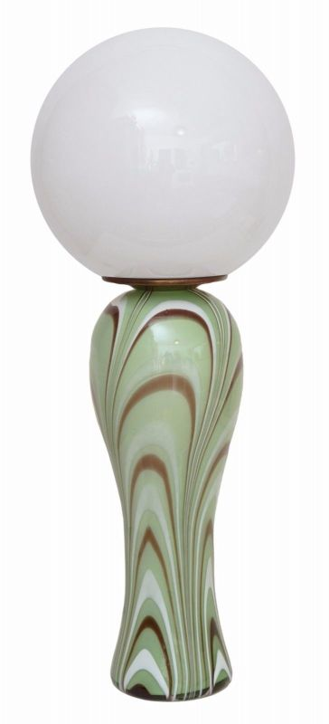 Original 70er Jahre Design Tischlampe Retro Glassockel Unikat Opalglas Bauhaus