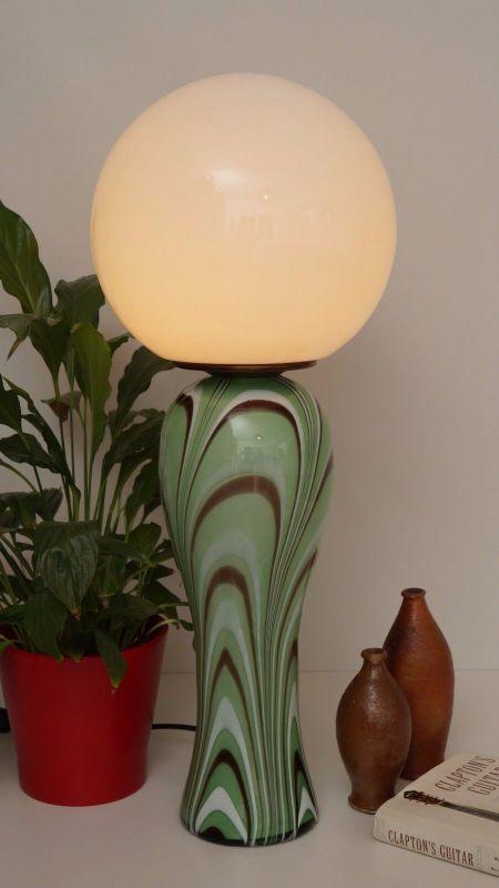 Original 70er Jahre Design Tischlampe Retro Glassockel Unikat Opalglas Bauhaus 1