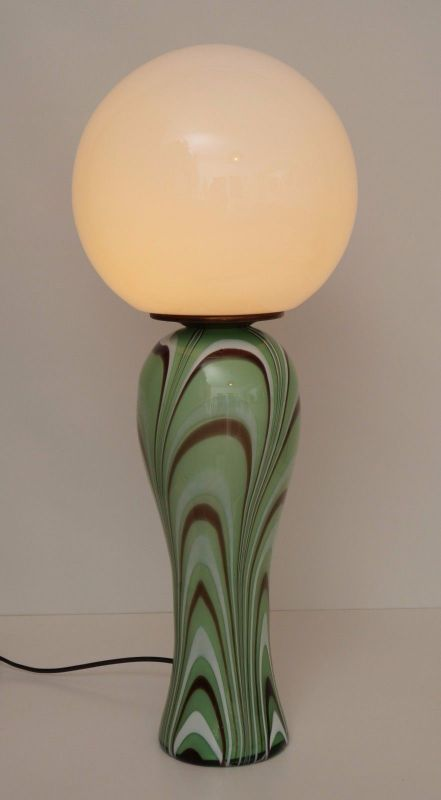 Original 70er Jahre Design Tischlampe Retro Glassockel Unikat Opalglas Bauhaus 2