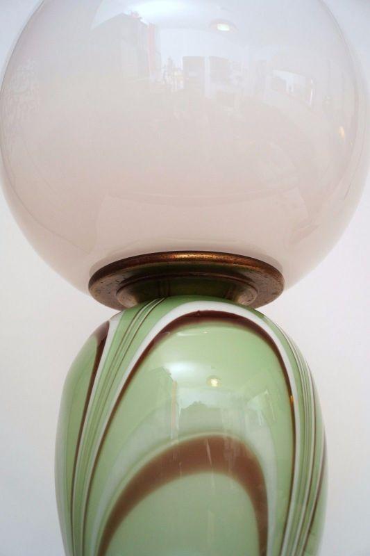 Original 70er Jahre Design Tischlampe Retro Glassockel Unikat Opalglas Bauhaus 5
