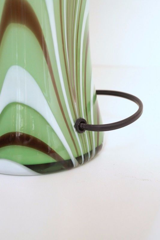 Original 70er Jahre Design Tischlampe Retro Glassockel Unikat Opalglas Bauhaus 6