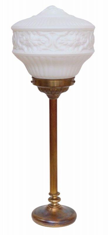 Art Deco Bankiers Lampe Tischlampe Opalglas Messing um 1940 Lampe