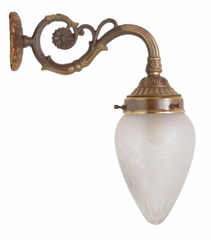 Prachtvolle original Jugendstil Wandleuchte Wandlampe Art Deco um 1920 Messing