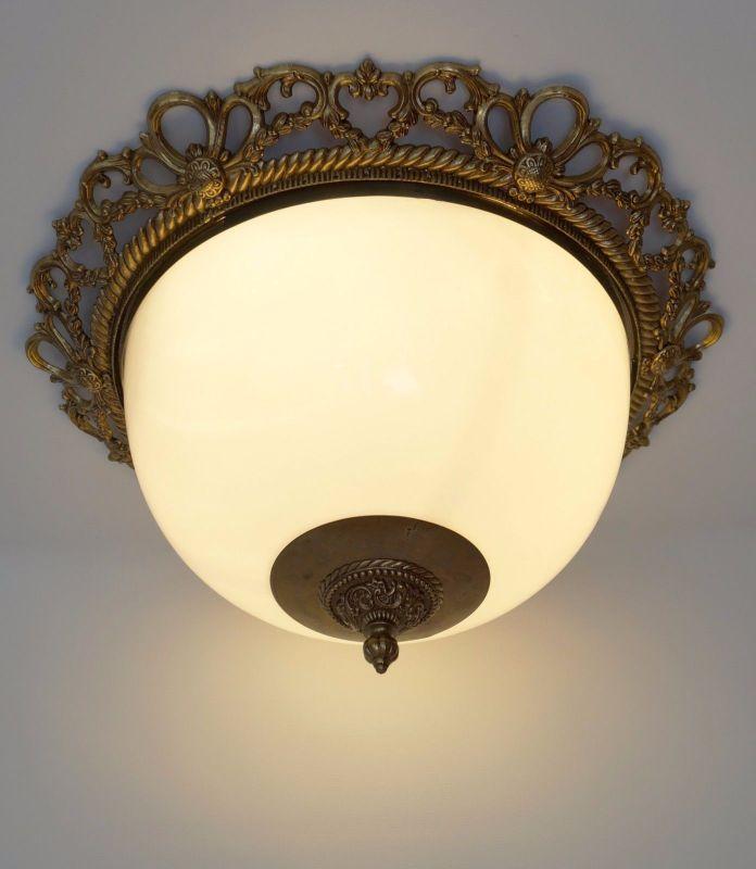 Riesige Jugendstil Plafoniere Deckenlampe Hängeleuchte 50 cm Messing Landhaus