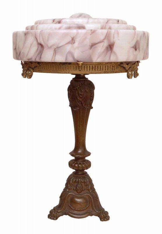 Riesige prachtvolle original Jugendstil Prunkleuchte Tischlampe Bronze 1920