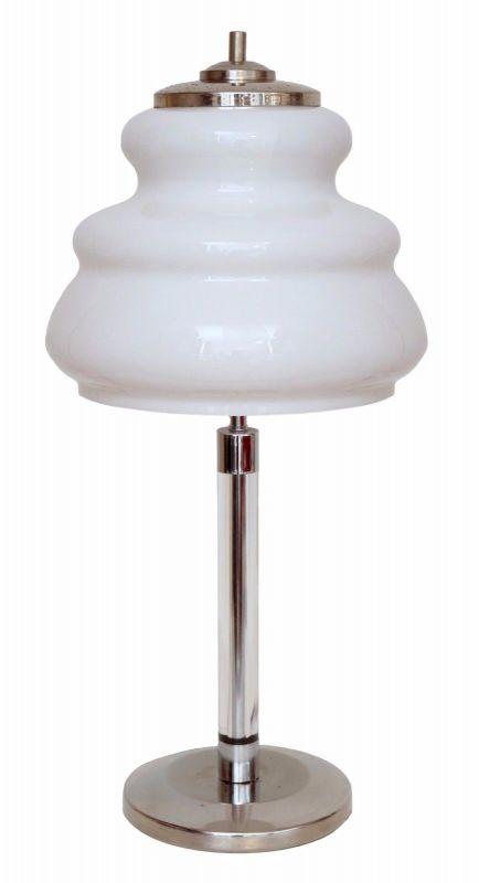 Original 70er Jahre Bauhaus Tischleuchte Seventies Retro Chrom Lampe Banker