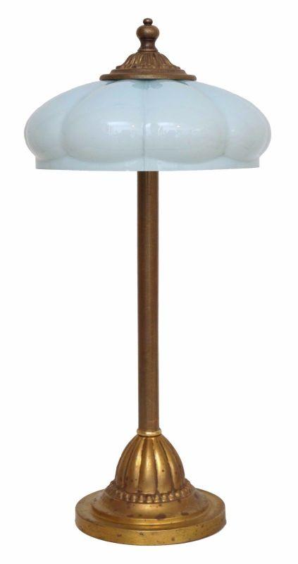 Wunderschöne original Berliner Jugendstil Messinglampe um 1930 Tischlampe Opal