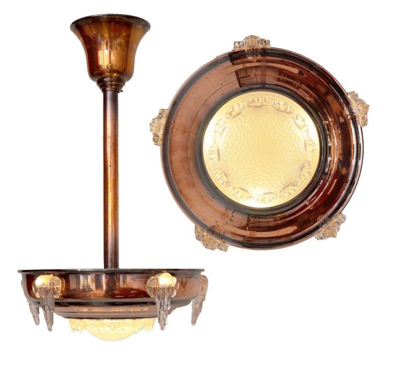 Sammlerstück original französische Art Déco Deckenlampe Hängelampe EZAN Nouveau 1