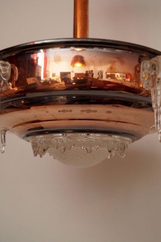 Sammlerstück original französische Art Déco Deckenlampe Hängelampe EZAN Nouveau 11
