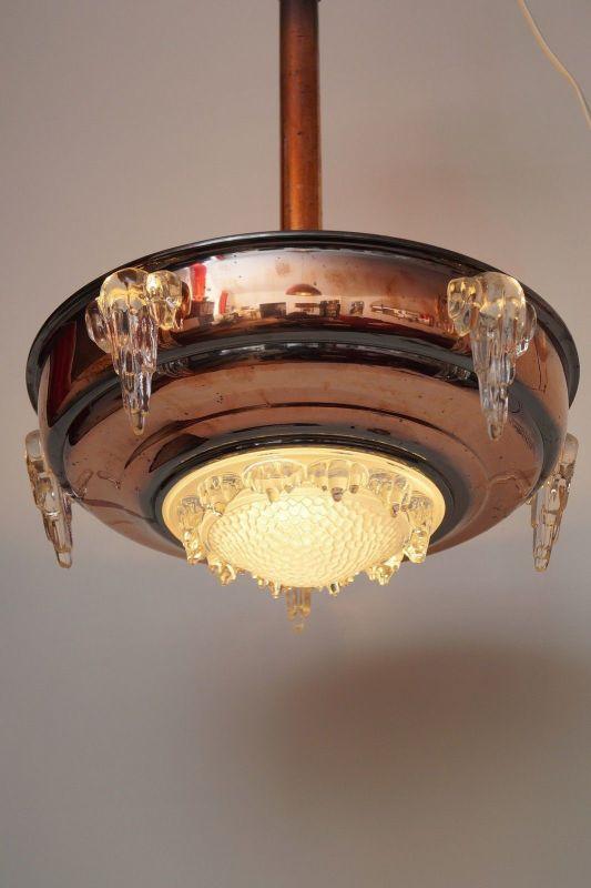 Sammlerstück original französische Art Déco Deckenlampe Hängelampe EZAN Nouveau 2