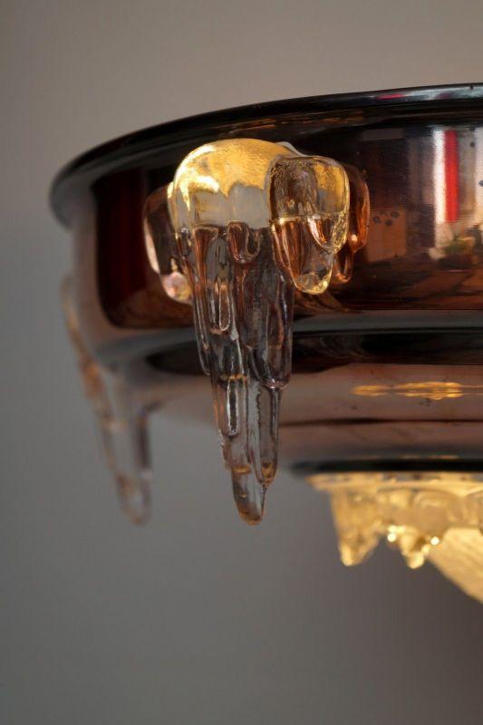Sammlerstück original französische Art Déco Deckenlampe Hängelampe EZAN Nouveau 5
