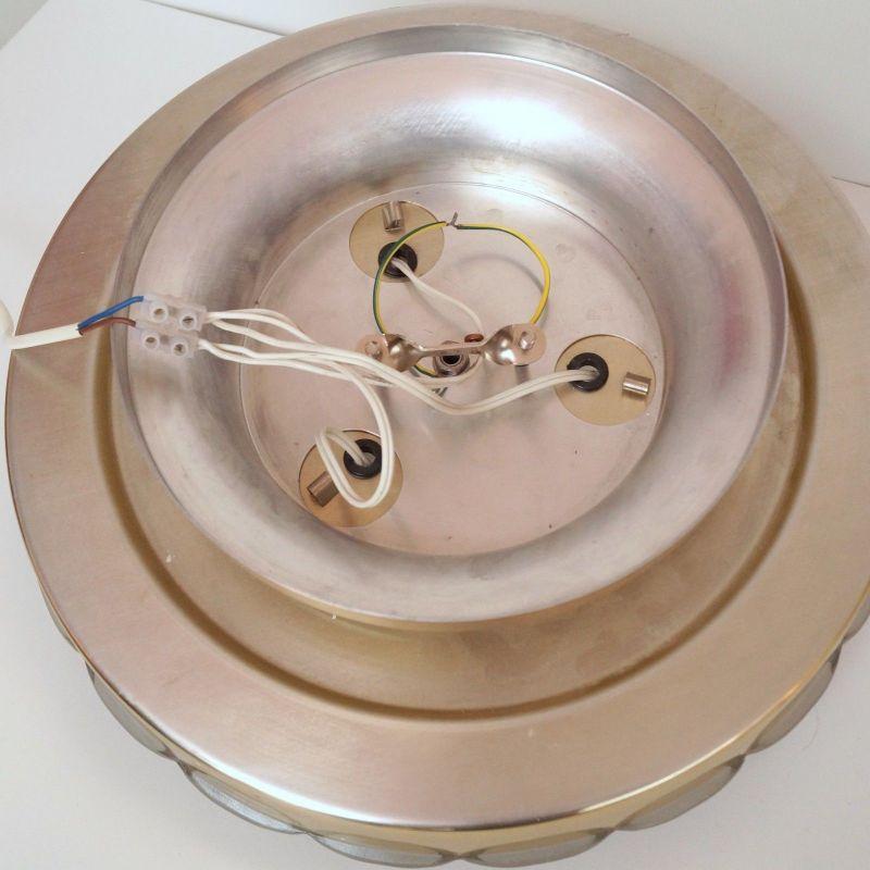 Einmalige original Seventies Design Deckenlampe Wandleuchte Aluminium Retro 40cm 4