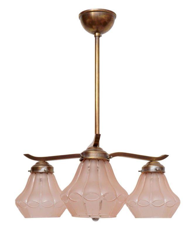 Wunderschöner orig. Art Deco Deckenleuchter Hängelampe Deckenlampe Messing 30er