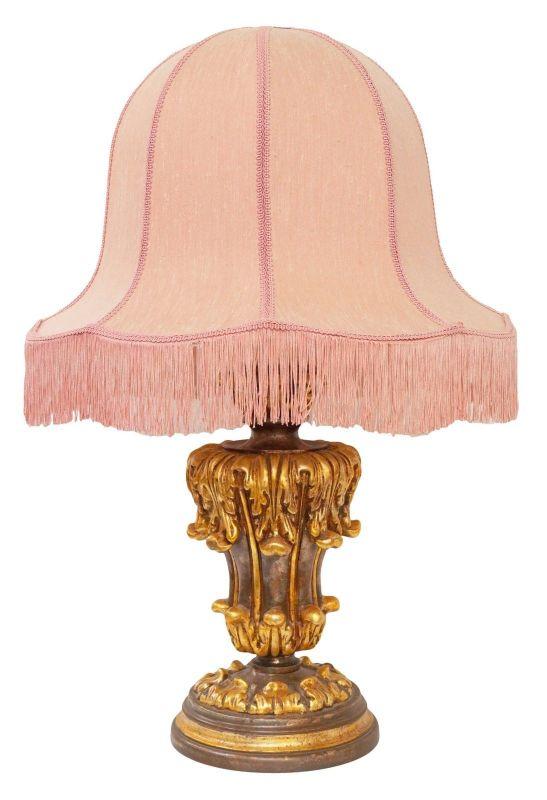 Klassische große Stilleuchte Salonlampe Tischlampe Holz Landhaus Bauernmalerei