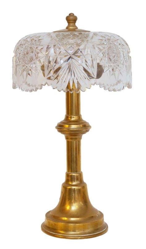 Unikat Jugendstil Design Tischleuchte Tischlampe Kristallglas Messing Berliner