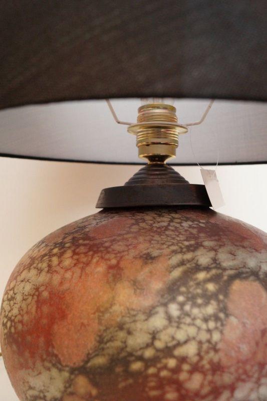 Tischlampe Steingut elegant neuer Stoffschirm 6