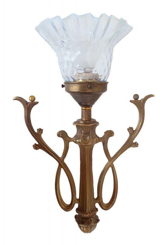 Sehr romantische Jugendstil Wandleuchte Wandlampe original Glas Messing Landhaus