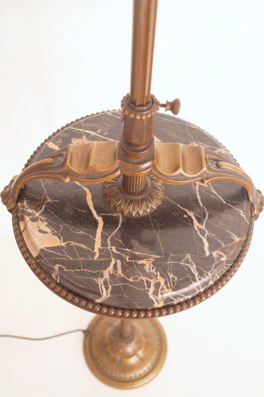 Einmalige original Jugendstil Art Déco Stehlampe Bronze Mamor neuer Schirm 1