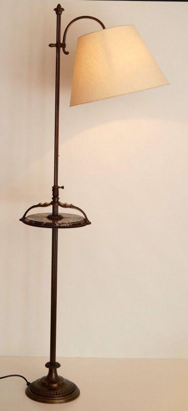 Einmalige original Jugendstil Art Déco Stehlampe Bronze Mamor neuer Schirm 2