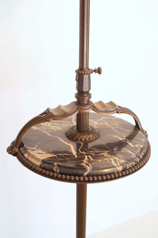 Einmalige original Jugendstil Art Déco Stehlampe Bronze Mamor neuer Schirm 3
