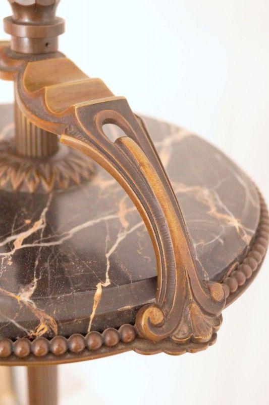 Einmalige original Jugendstil Art Déco Stehlampe Bronze Mamor neuer Schirm 5