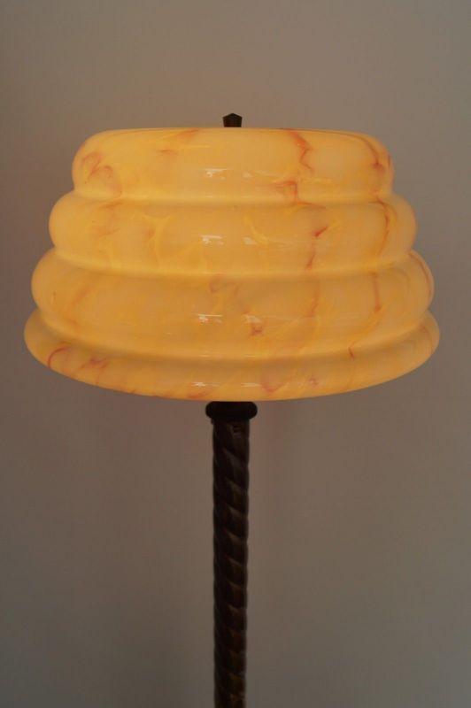 Unikat große original Jugendstil Stehlampe Stehleuchte um 1930 Messing 10