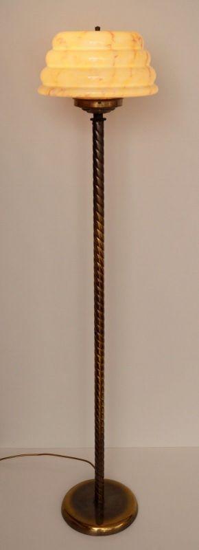 Unikat große original Jugendstil Stehlampe Stehleuchte um 1930 Messing 2